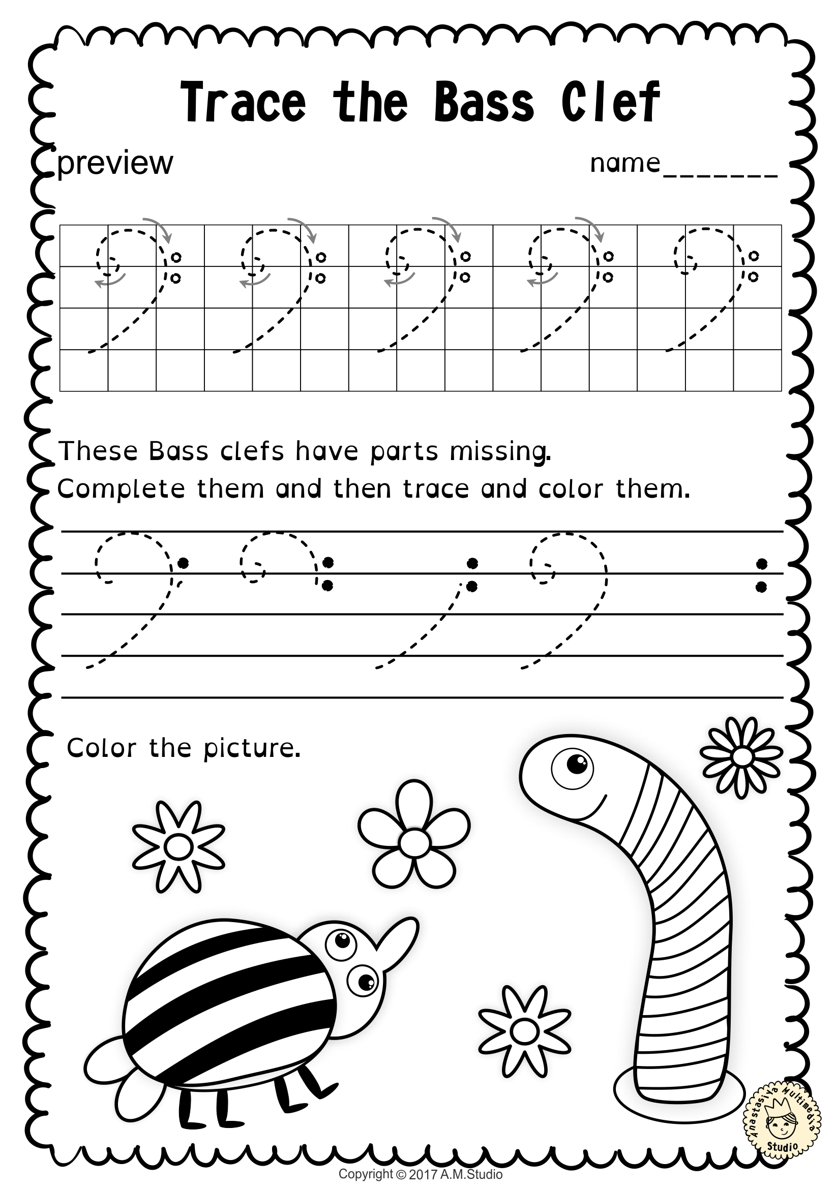 Tracing Music Notes Worksheets For Spring From Anastasiya