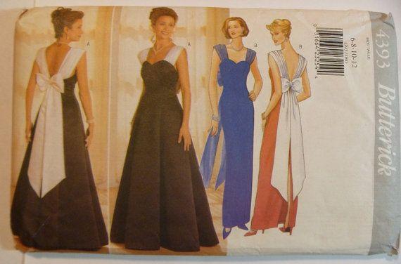 UNCUT Butterick 4393 Misses Dress Pattern Sizes 6-12 Formal Dress Evening Gown