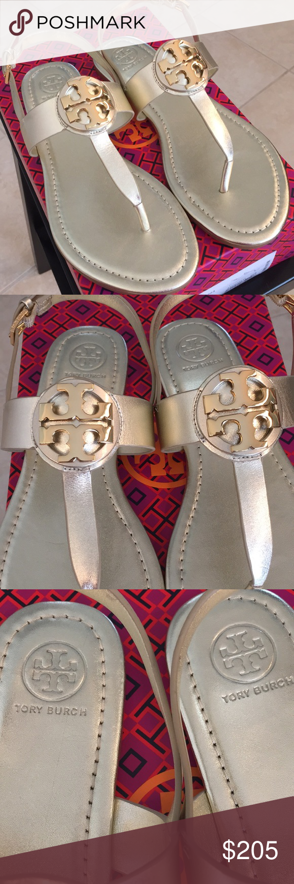 14455cf9d 🆕Tory Burch Bryce Flat thong Sandal in Spark Gold Tory Burch Bryce Thong  Sandal in Metallic Spark Gold are classy and very comfortable with a padded  ...