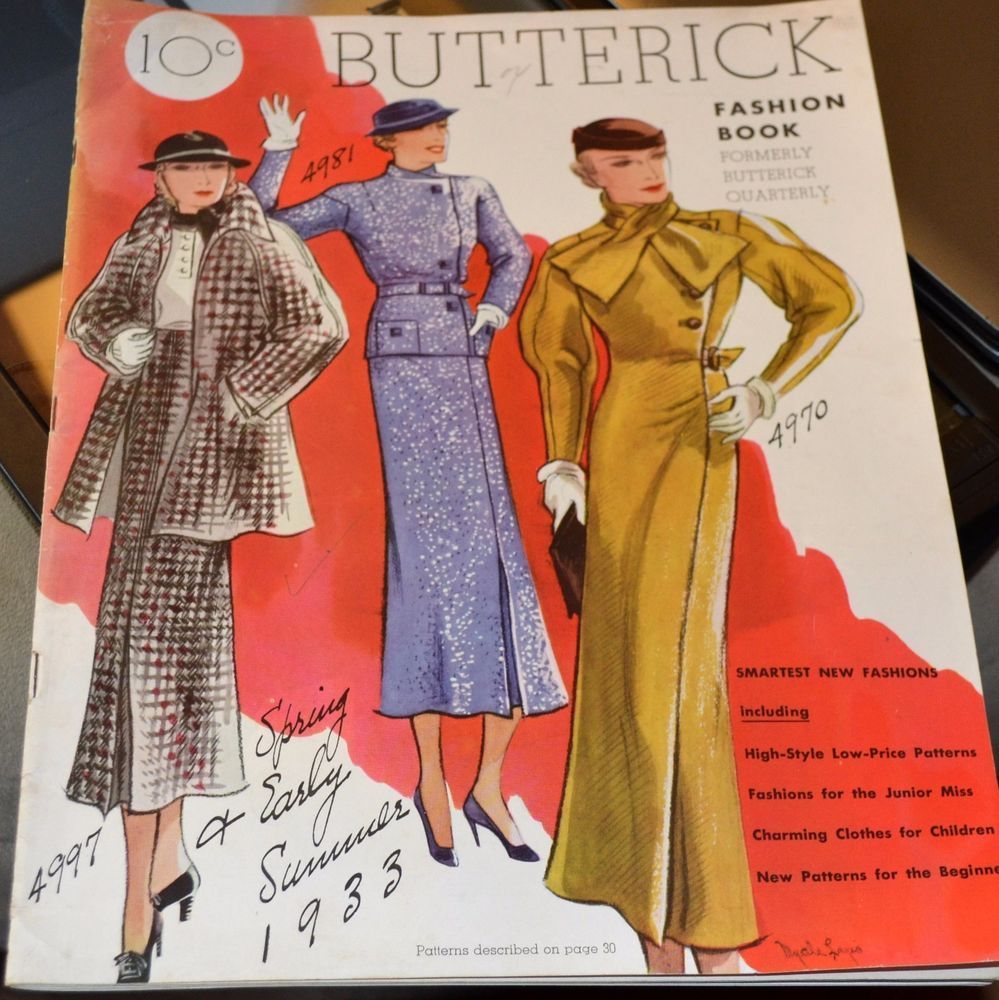 BUTTERICK FASHION BOOK 1933 Fashion Plates/Sewing Pattern Style nsld50+3.64 10/18/16