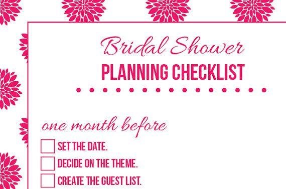 Bridal Shower Planning Organizational Checklist  You Choose Color