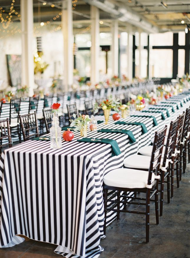 20 Ways To Rock Black White Stripes At Your Wedding Striped Wedding Wedding Linens White Table Cloth