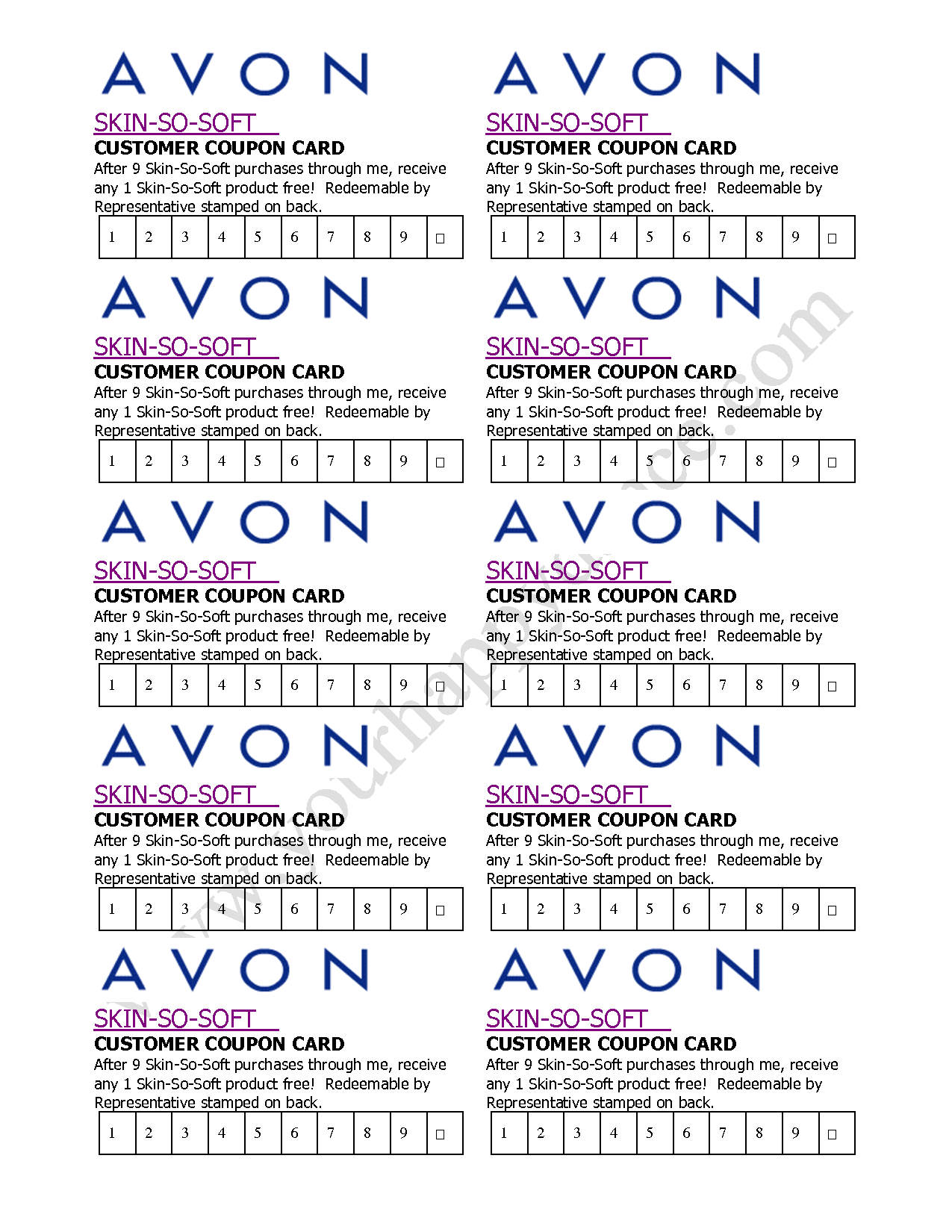 Avon Skin So Soft Coupon Card Pinteres - Avon business card template