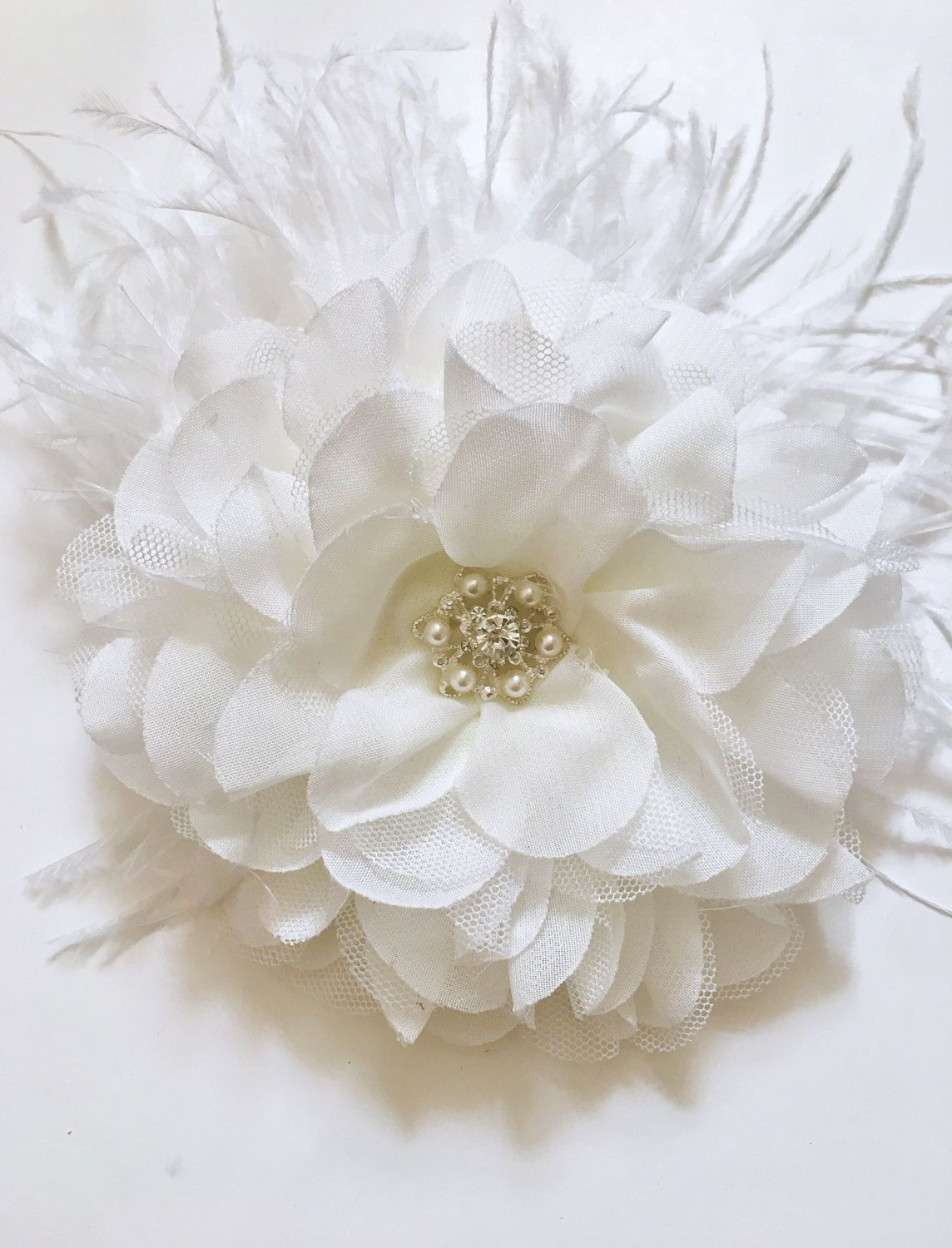 Fascinator, Bridal Feather Hair Fascinator, White Chiffon Pearl Hair ...