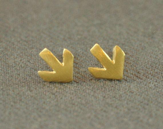 Unisex stud earrings - tiny golden matte finish arrow. silver post earrings handmade by Tuliya jewelry