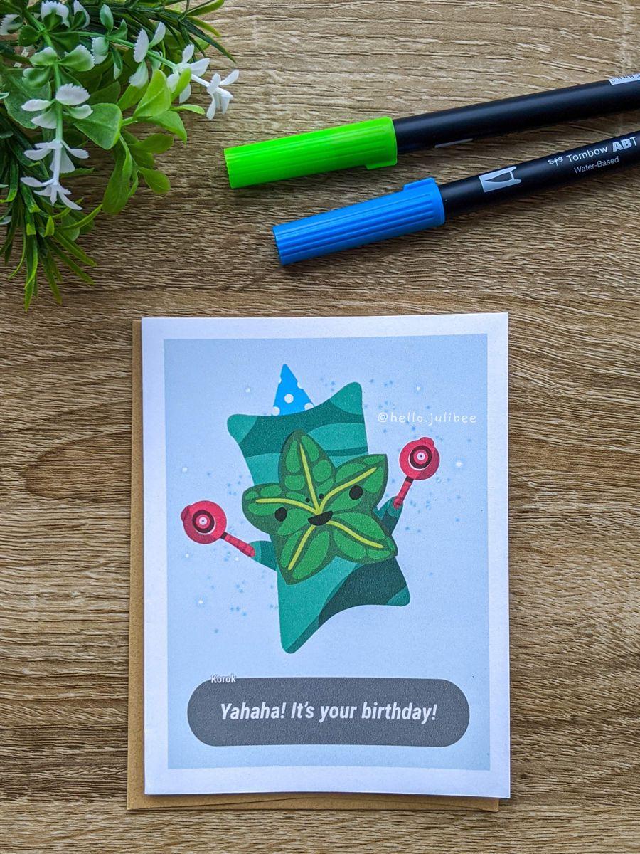 Korok Botw Yahaha Birthday Card For Gamers Birthday Cards Cards Bday Cards