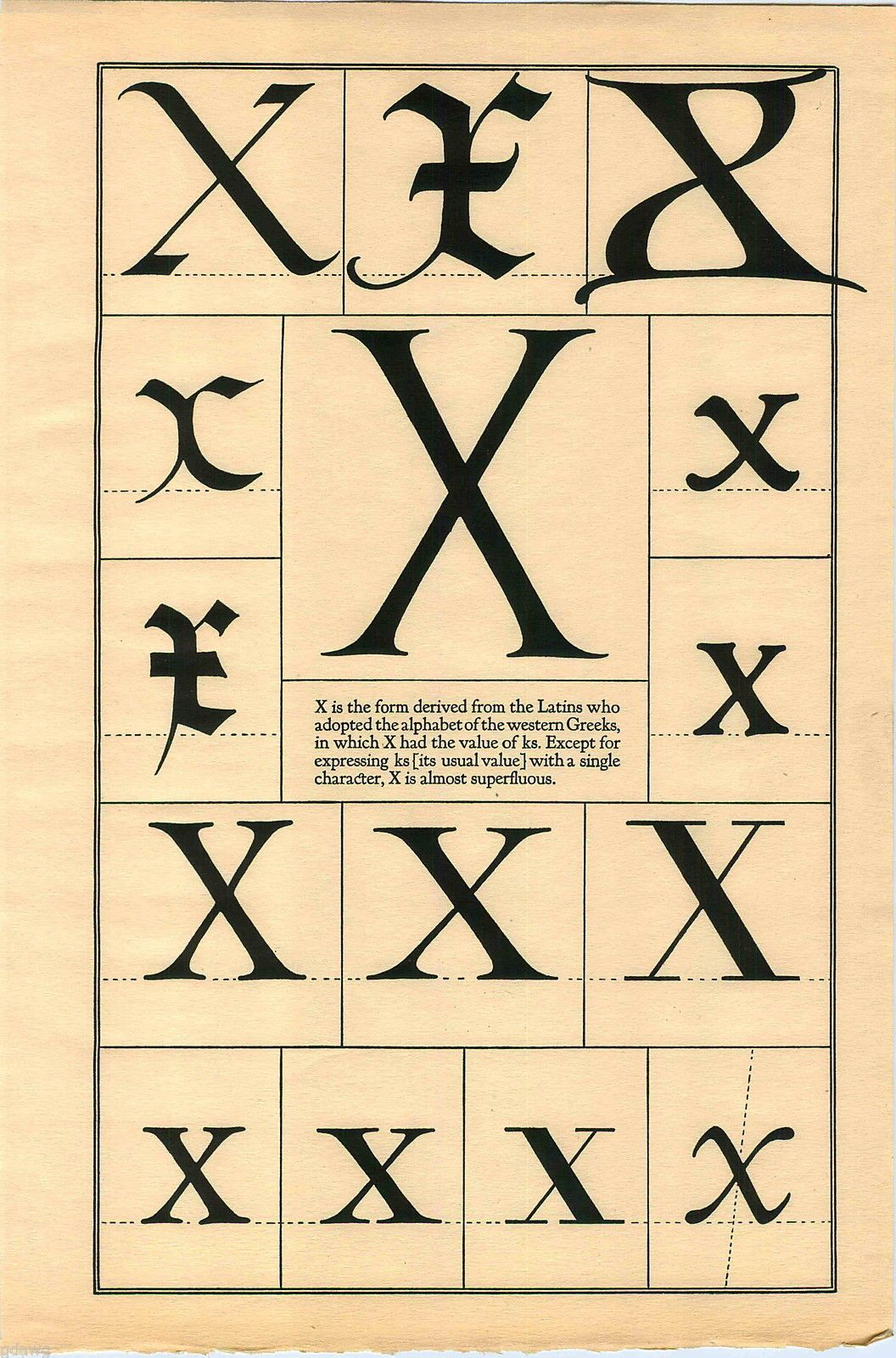 1922 book print letter x greek roman alphabet design typography 1922 book print letter x greek roman alphabet design typography frederic goudy ebay publicscrutiny Image collections
