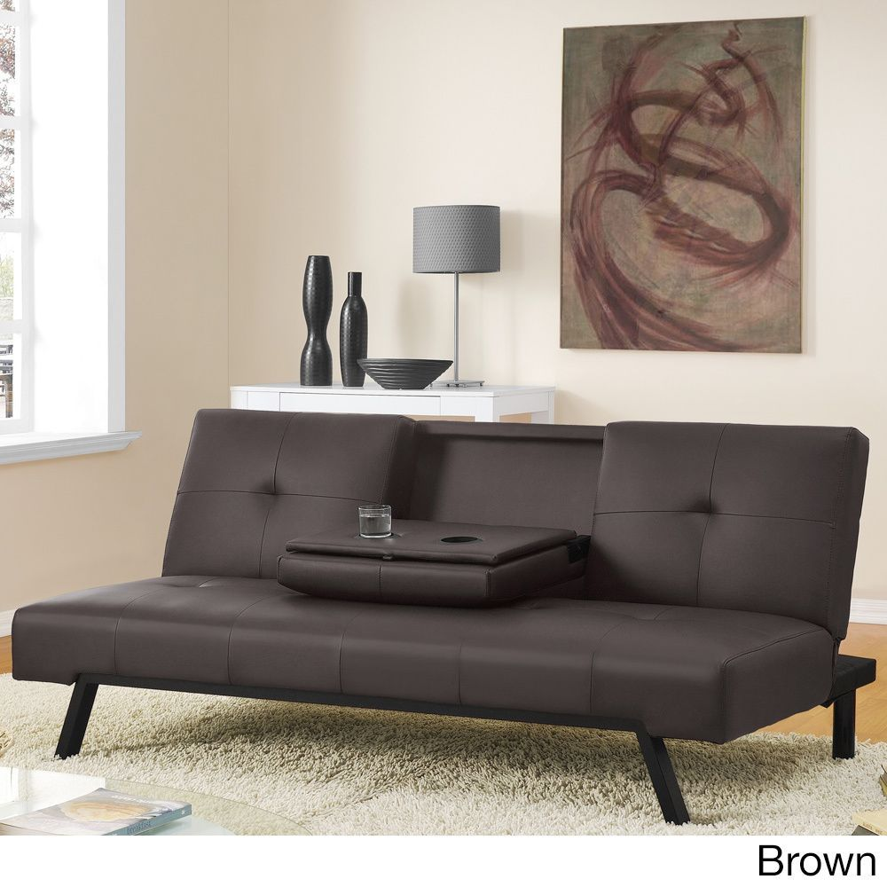 Dhp Wynn Cupholder Futon Sofa Bed Grey Great Deals Ping