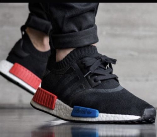 Adidas NMD_R1 OG PK Primeknit Sz 10.5 US MENS NEW BLACK WHITE RED BLUE  S79168