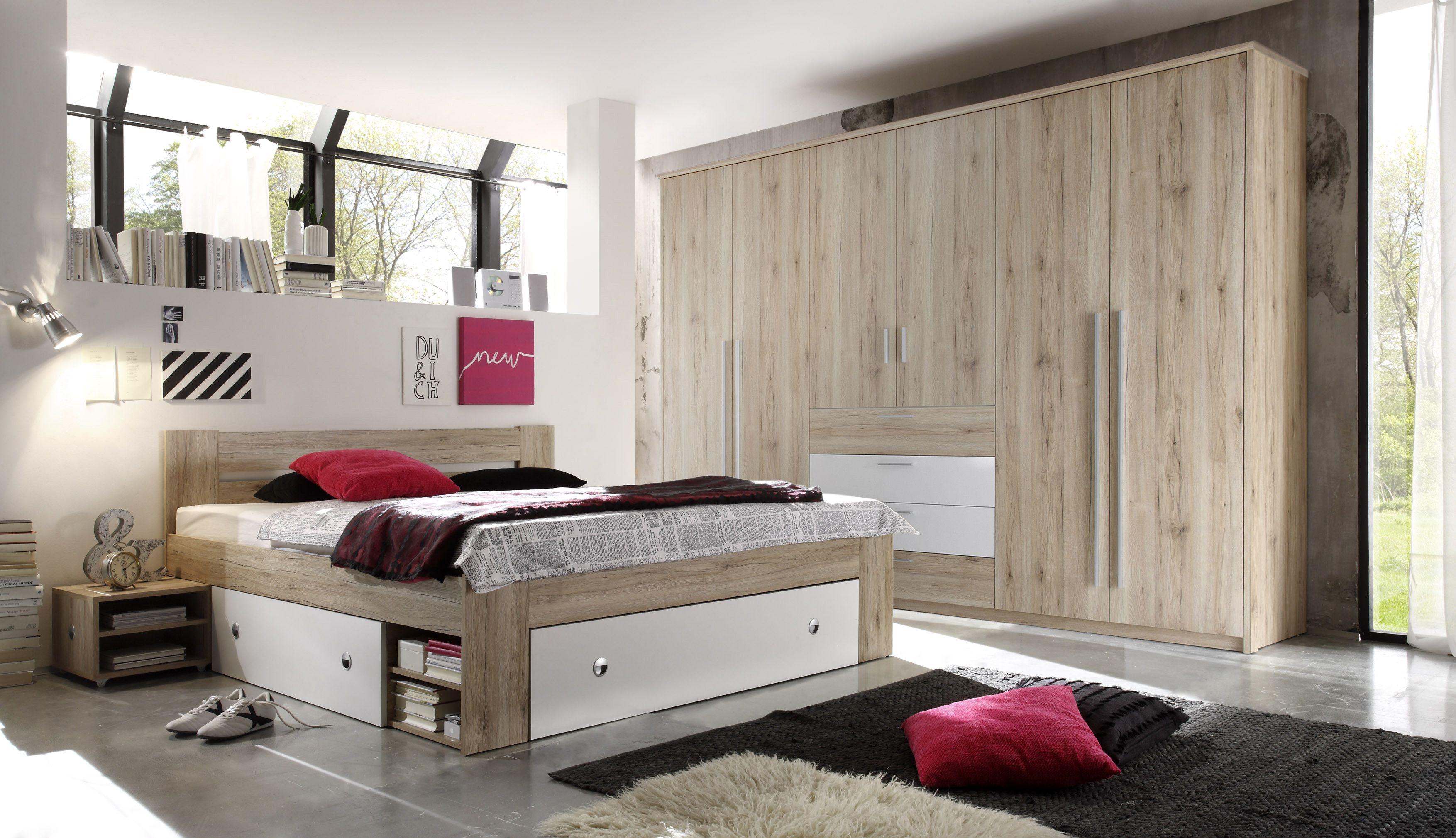Brandneu Schlafzimmer Mit Bett 180 X 200 Cm Nakos Und Kleiderschrank Eiche  GO95