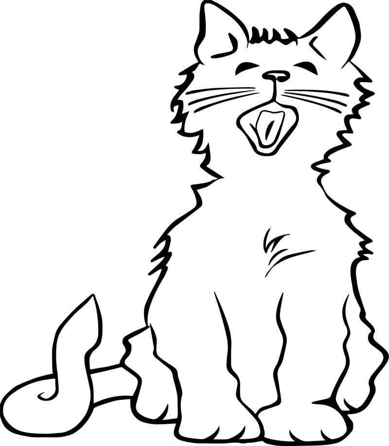 Yawn Cat Coloring Page