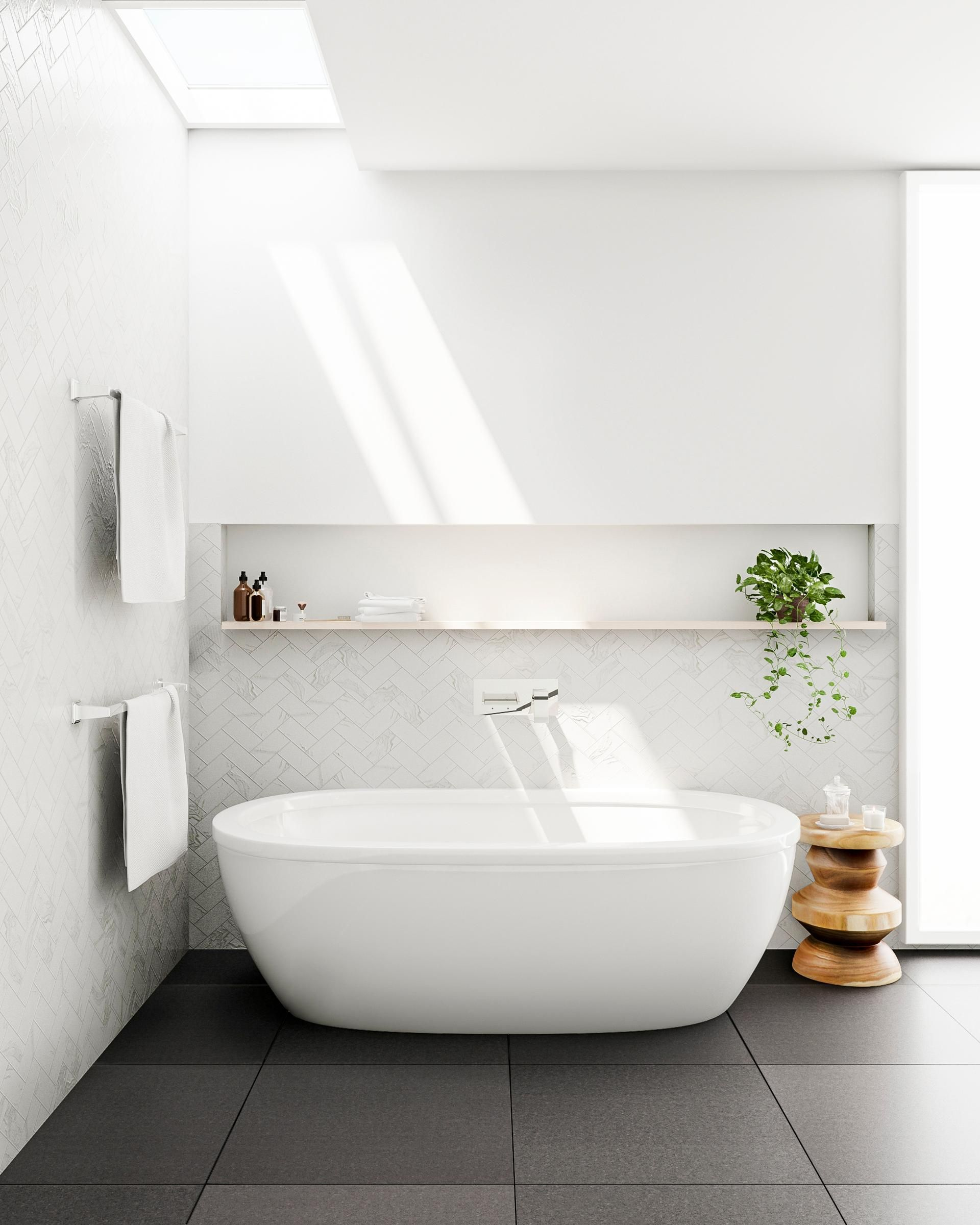 Go Big Format With Your New Bathroom Look Large Tiles In Shades