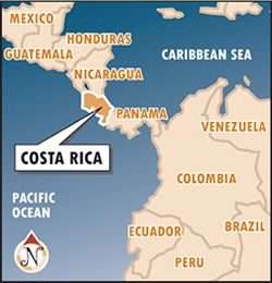 This is where Costa Rica is It is in Central America It is above