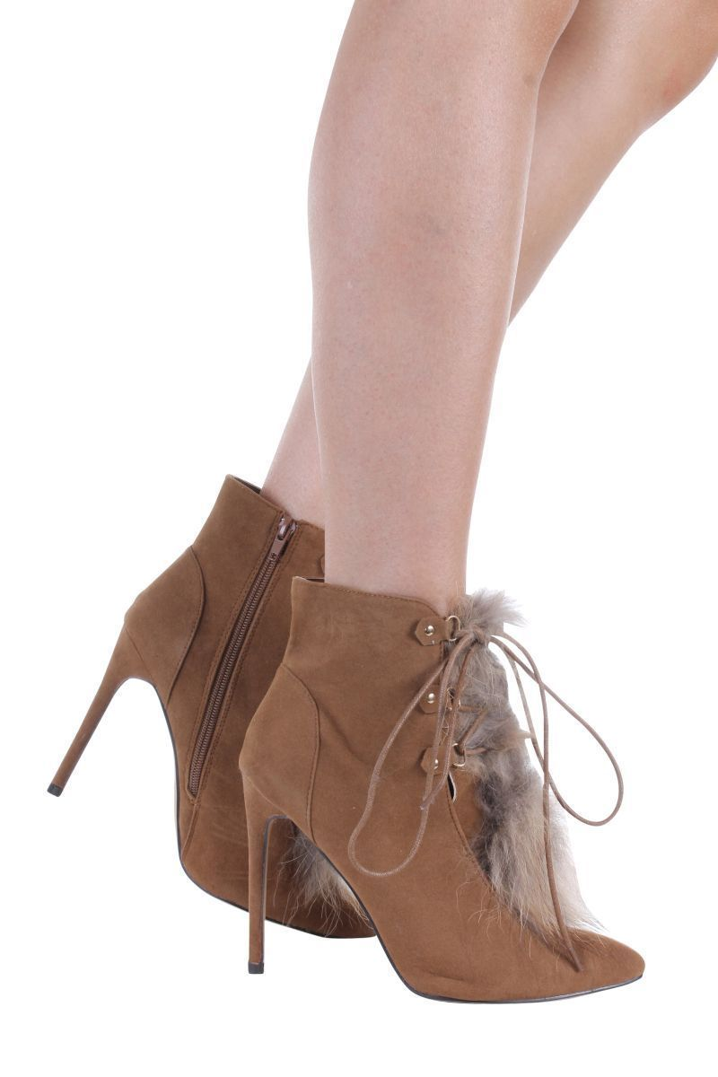POINTY LACE UP HEEL BOOTIE WOMEN XAYA-2-51 MISBEHAVE TAN