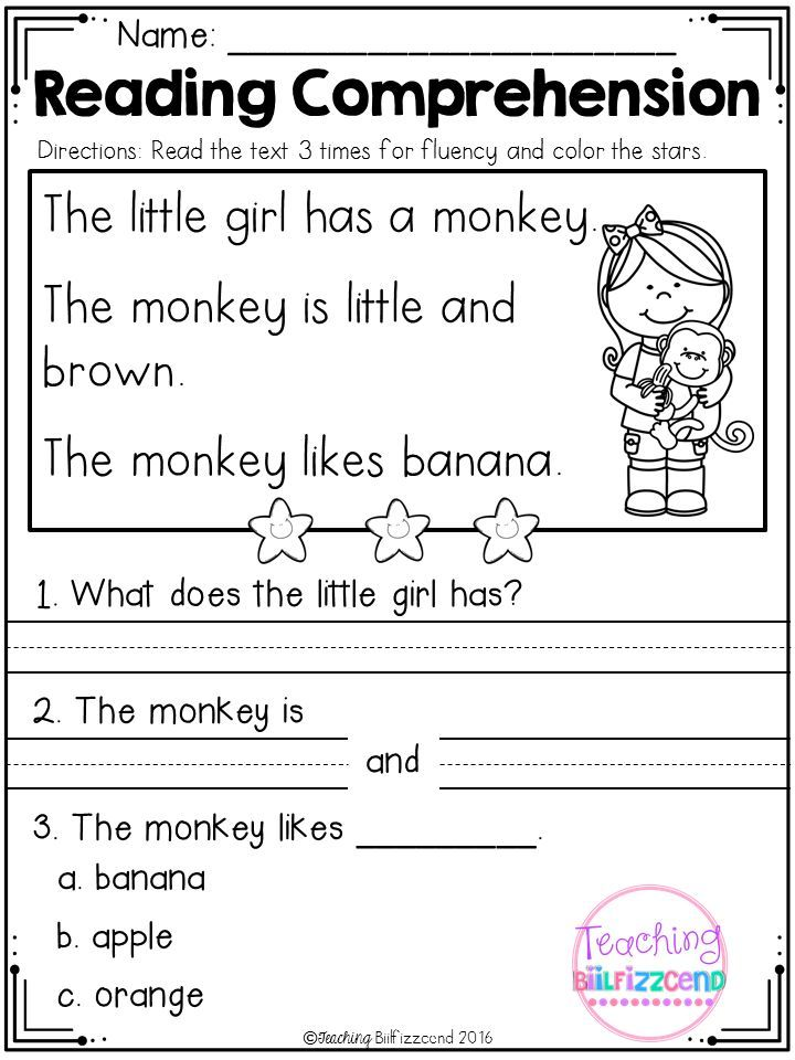 Kindergarten Reading Comprehension (SET 1) | Pinterest ...