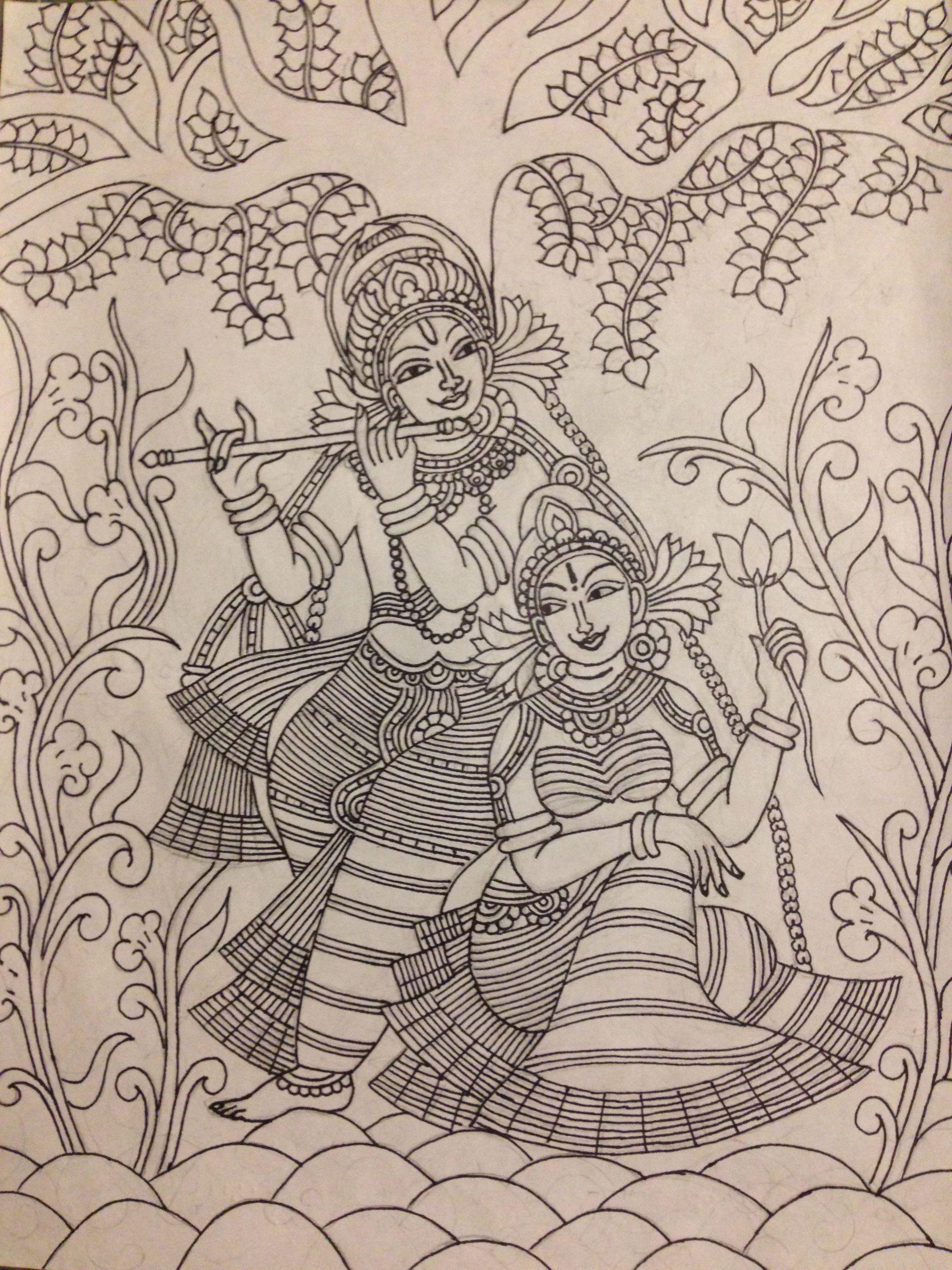 Krishna and radha mural pencil sketch kerala mural painting krishna painting madhubani painting
