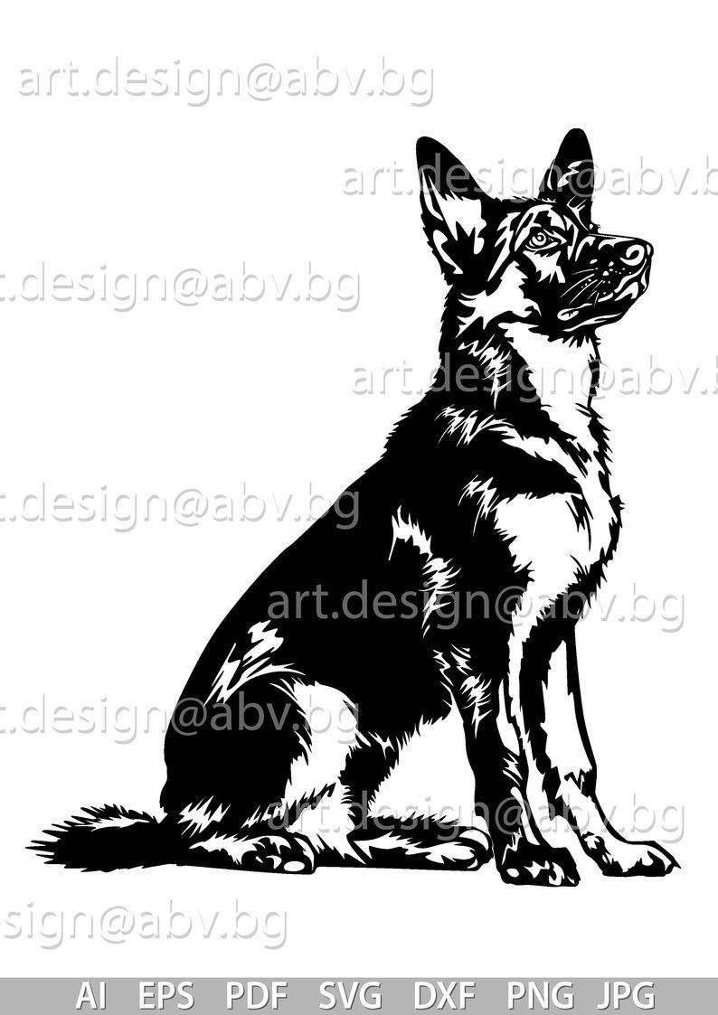 Vector Dog German Shepherd Ai Png Pdf Eps Svg Dxf Jpg Download Digital Image Graphical Animal Discount Coupons In 2021 German Shepherd Painting German Shepherd Tattoo German Shepherd Art