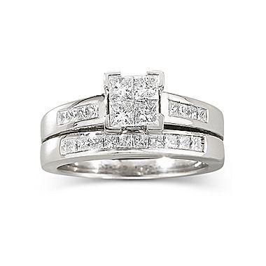 1 Ct T W Diamond Bridal Set 14k White Gold Jcpenney White Gold Bridal Set Modern Bride Jewelry Diamond Bridal Sets