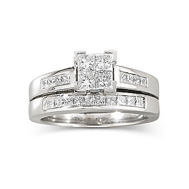 1 CT TW Diamond Bridal Set 14K White Gold jcpenney