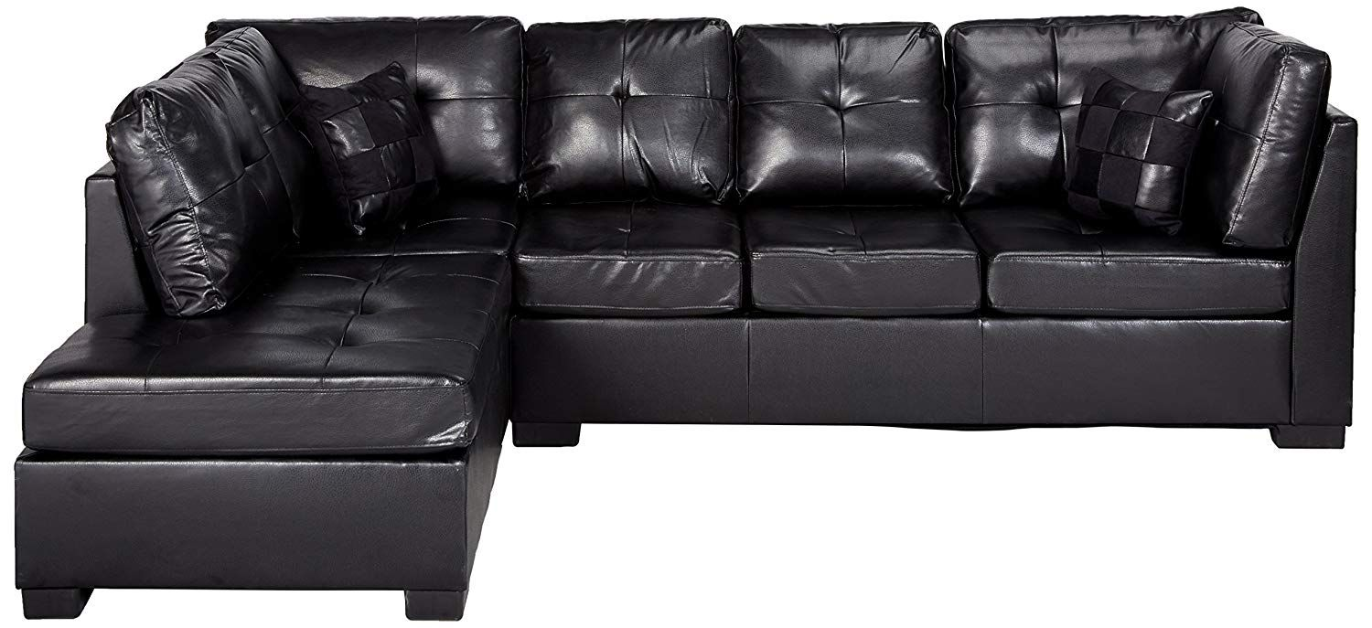 Contemporary Black Leather Sectional Sofa Left Side Chaise By