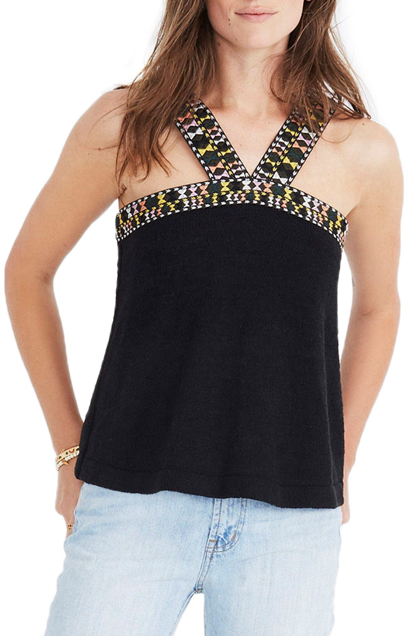 Embroidered Swing Sweater Tank Sweaters, Madewell, Tank tops