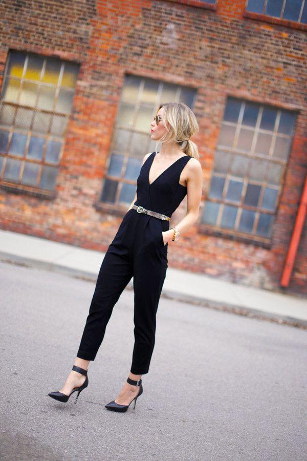 belted black jumpsuit