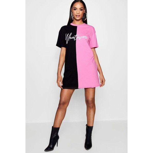 e80f7e59c2e Boohoo Nina Whatever Colour Block T Shirt Dress (235 ZAR) ❤ liked on  Polyvore featuring dresses