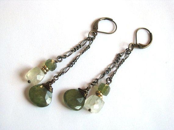 Vesuvianite and Prehnite Earrings in Antiqued Brass by saltyduck