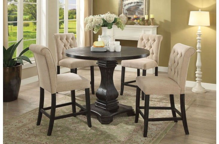 Bon Nerissa Antique Black Counter Height Dining Table From Furniture Of America  | Coleman Furniture