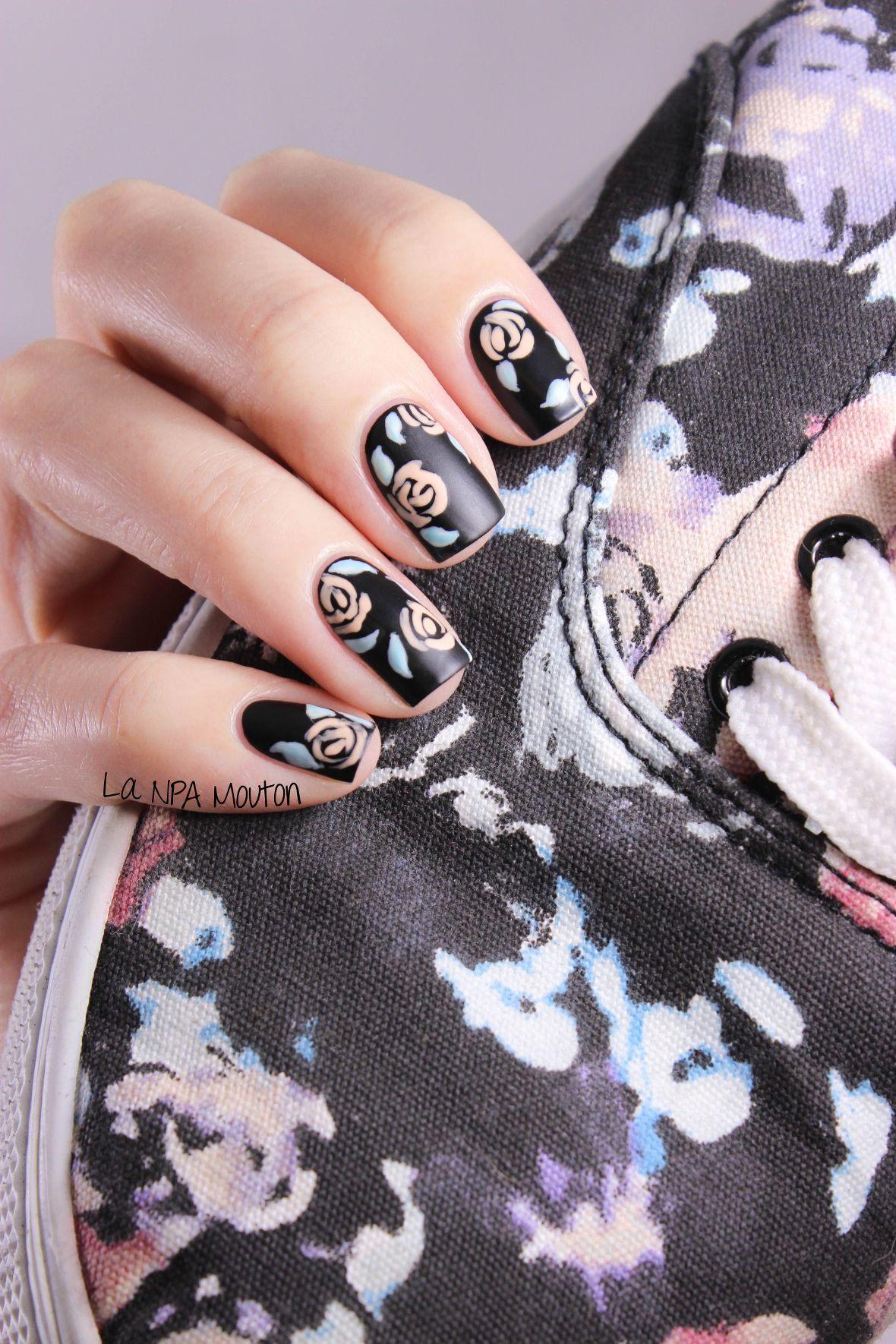 Nailstorming x Sneakers Inspired Nails - Vintage Roses 2 | Nail Art ...