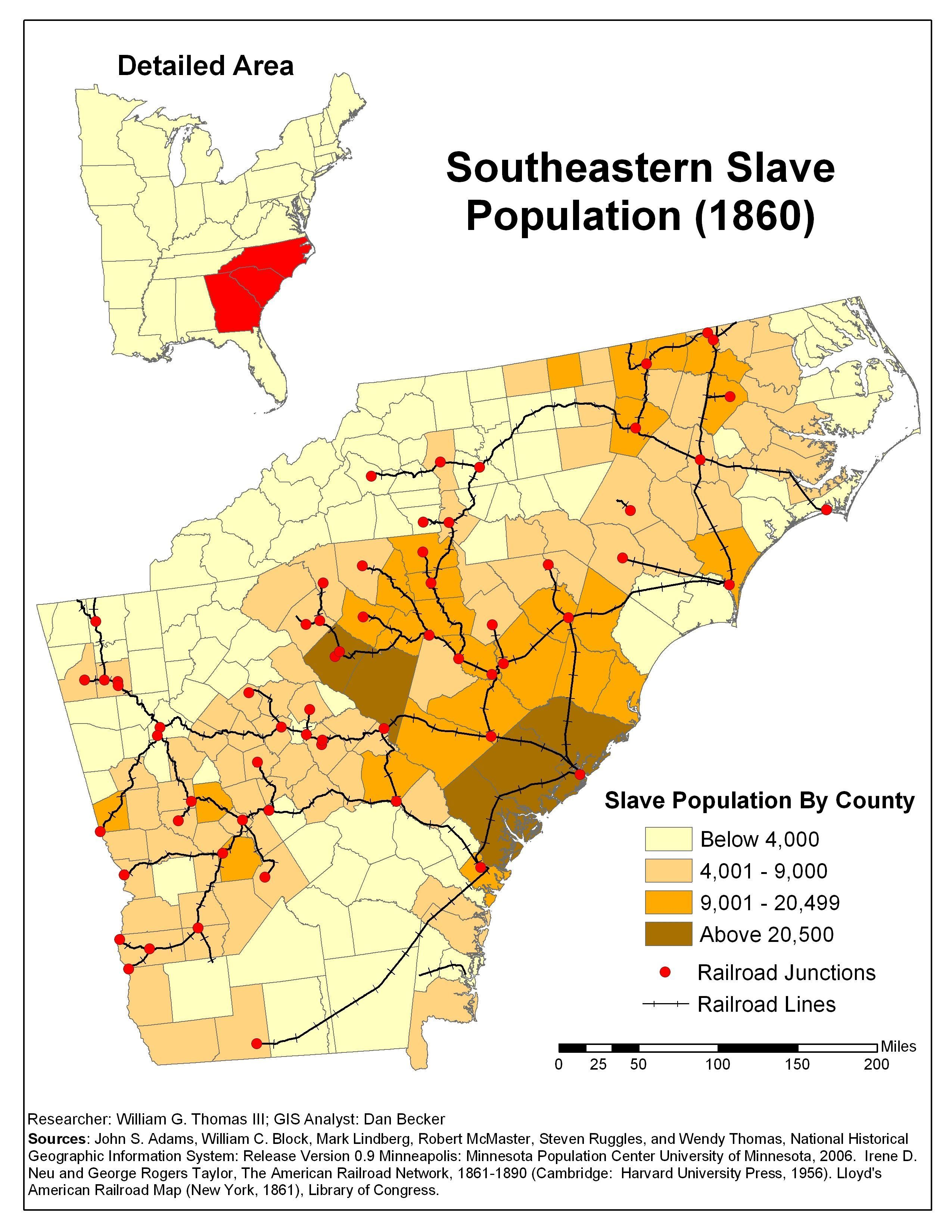 Map Of America 1820.1860 Southeastern Slave Population 1820 1860 Antebellum America