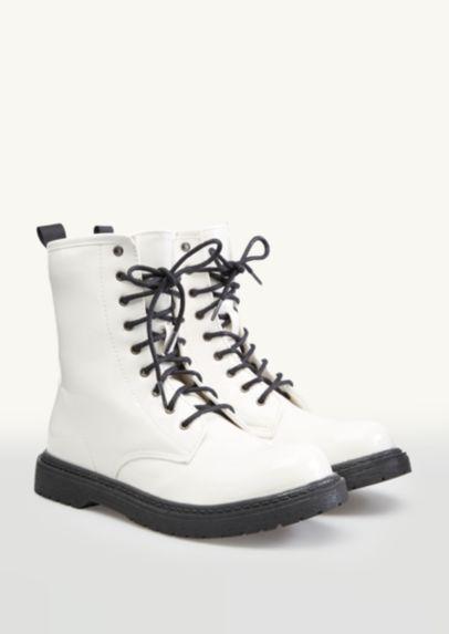 White Patent Combat Boot | Cute combat