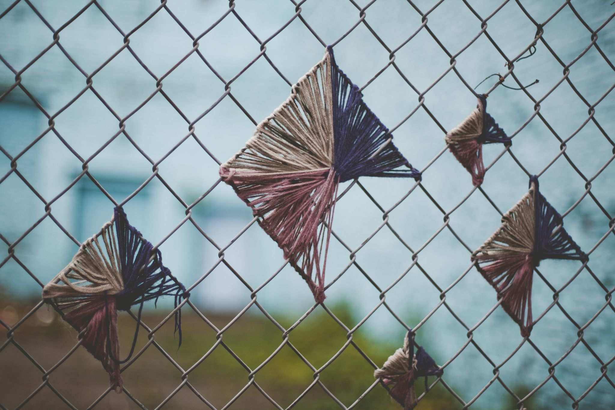 Chain link fence art lacing strings backyard garden