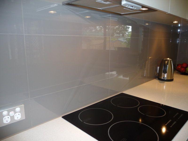 Large grey gloss tile for backsplash I really like it
