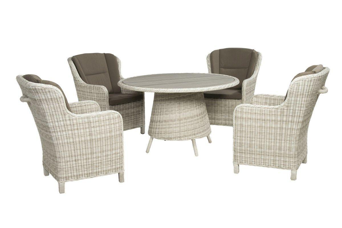 Een rieten tuinset bestaande uit een tafel en vier for Kussens voor op stoelen