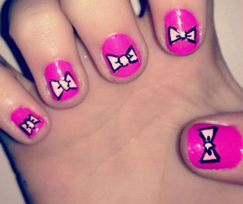 Draw Bow Nail Art Ideas | Manicure | Pinterest | Bow nail art
