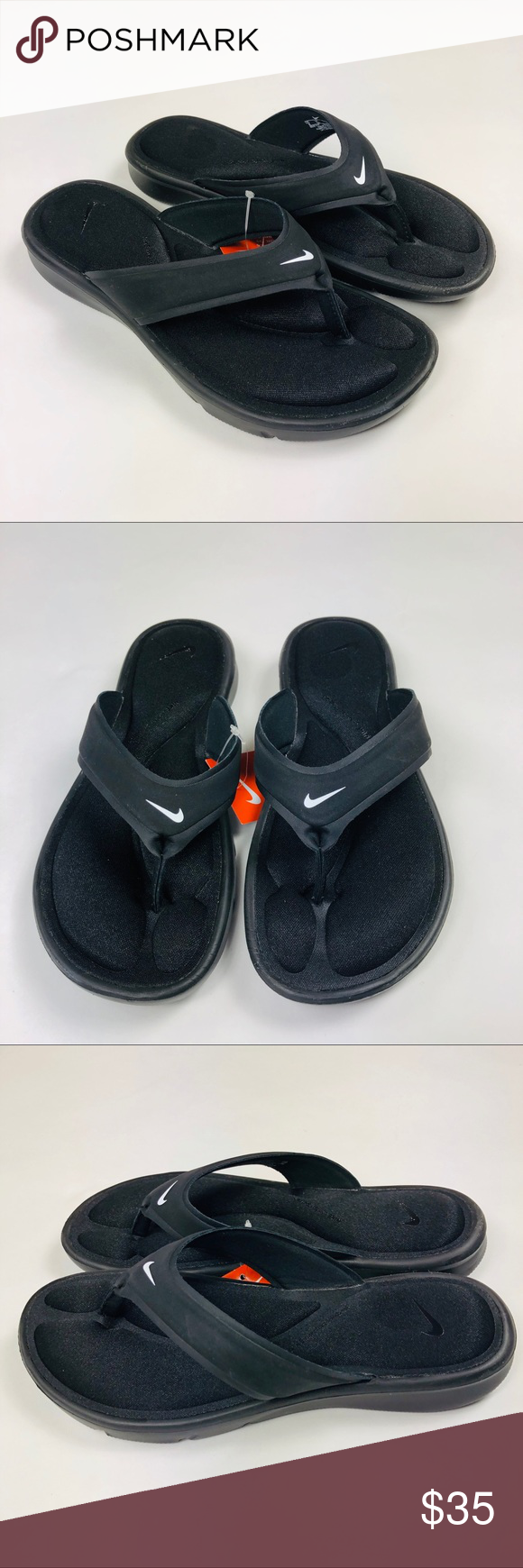 85129aba576a Nike Ultra Comfort Thong Flip Flop Black Womens Nike Womens Ultra Comfort  Thong Flip Flop Cushioned