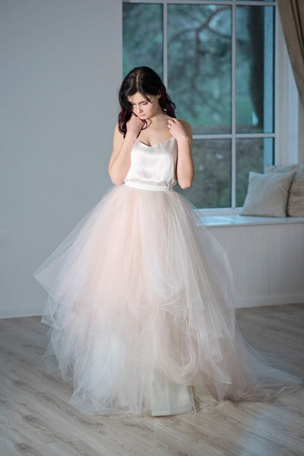 tulle wedding skirt / two-piece bridal gown / blush bridal skirt ...