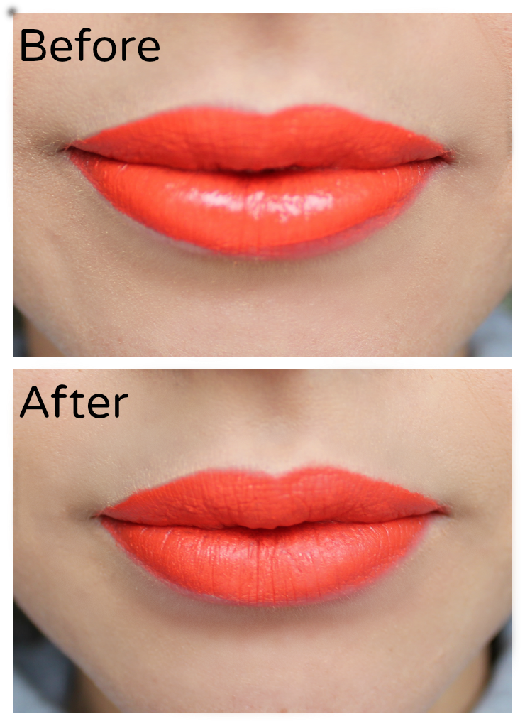 how to make your glossy lipstick look matte