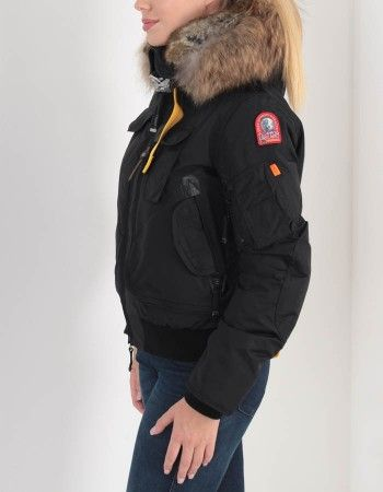 Parajumpers Black Gobi Bomber Faux Fur Hood Coat | Accent Clothing