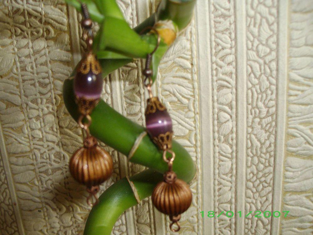 Vintage & antique Beautiful Earrings Argentina opal bead &natural brass~handmade