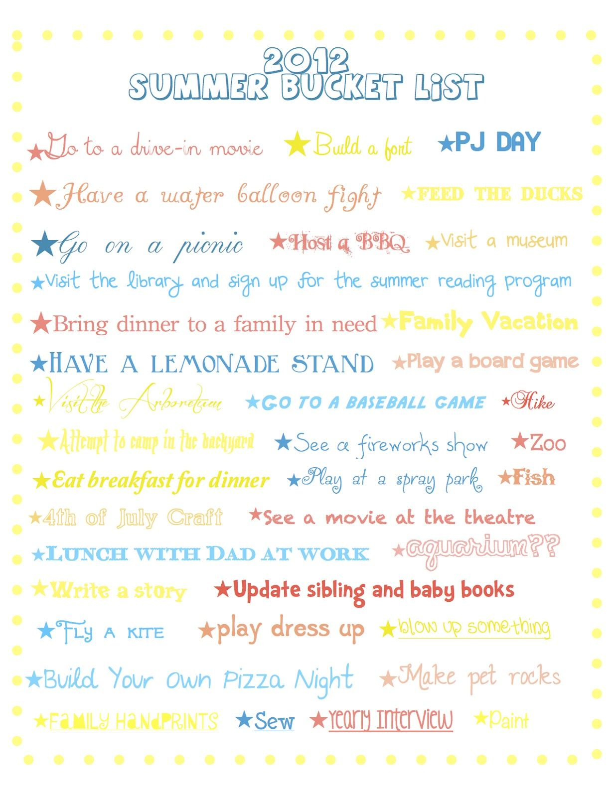 Summer Bucket List Fun To Do With Kids