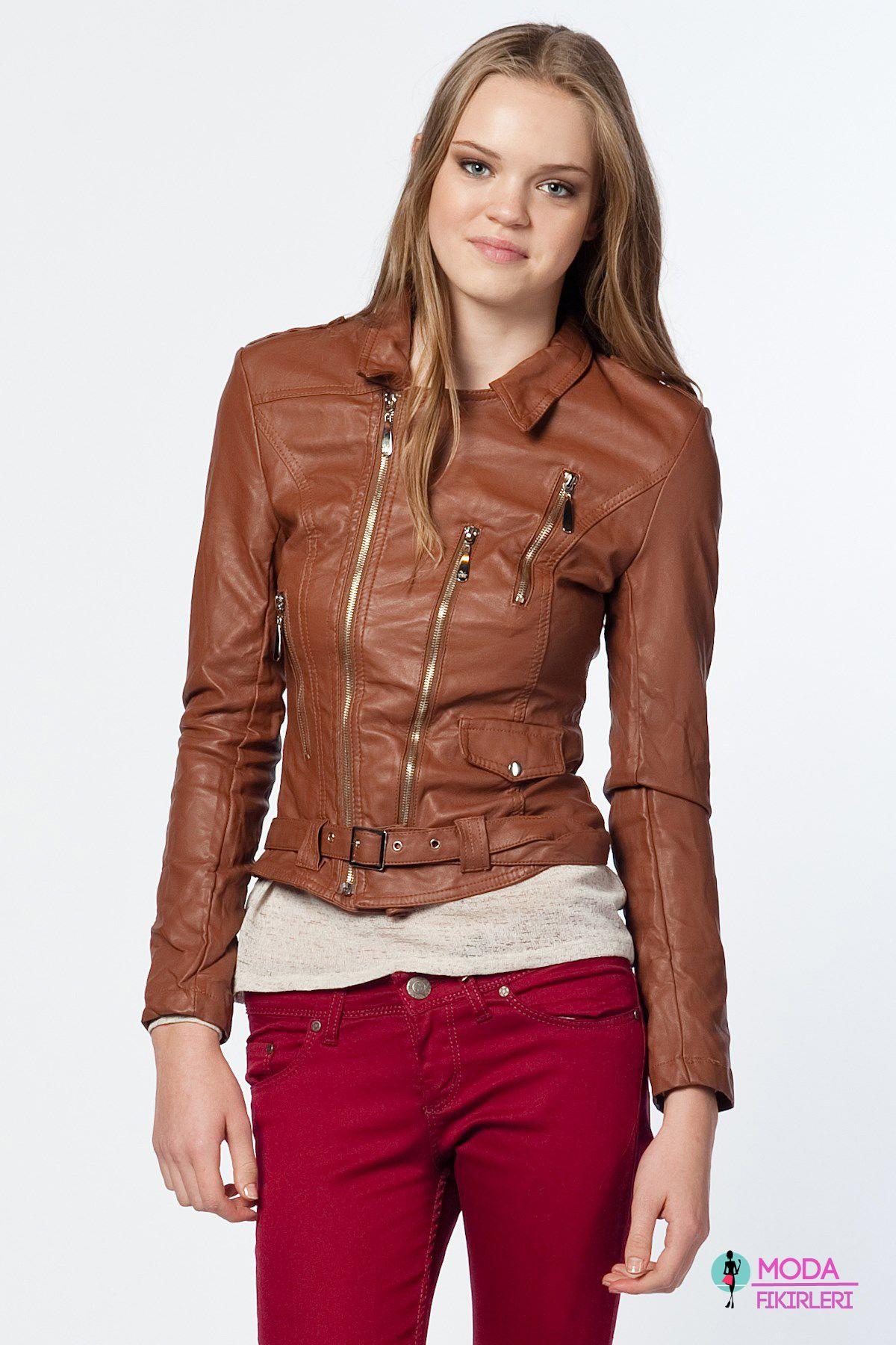 06798acf8b0f2 Koton Bayan Deri Mont #leather #jacket #coat #brown | Elbise ...