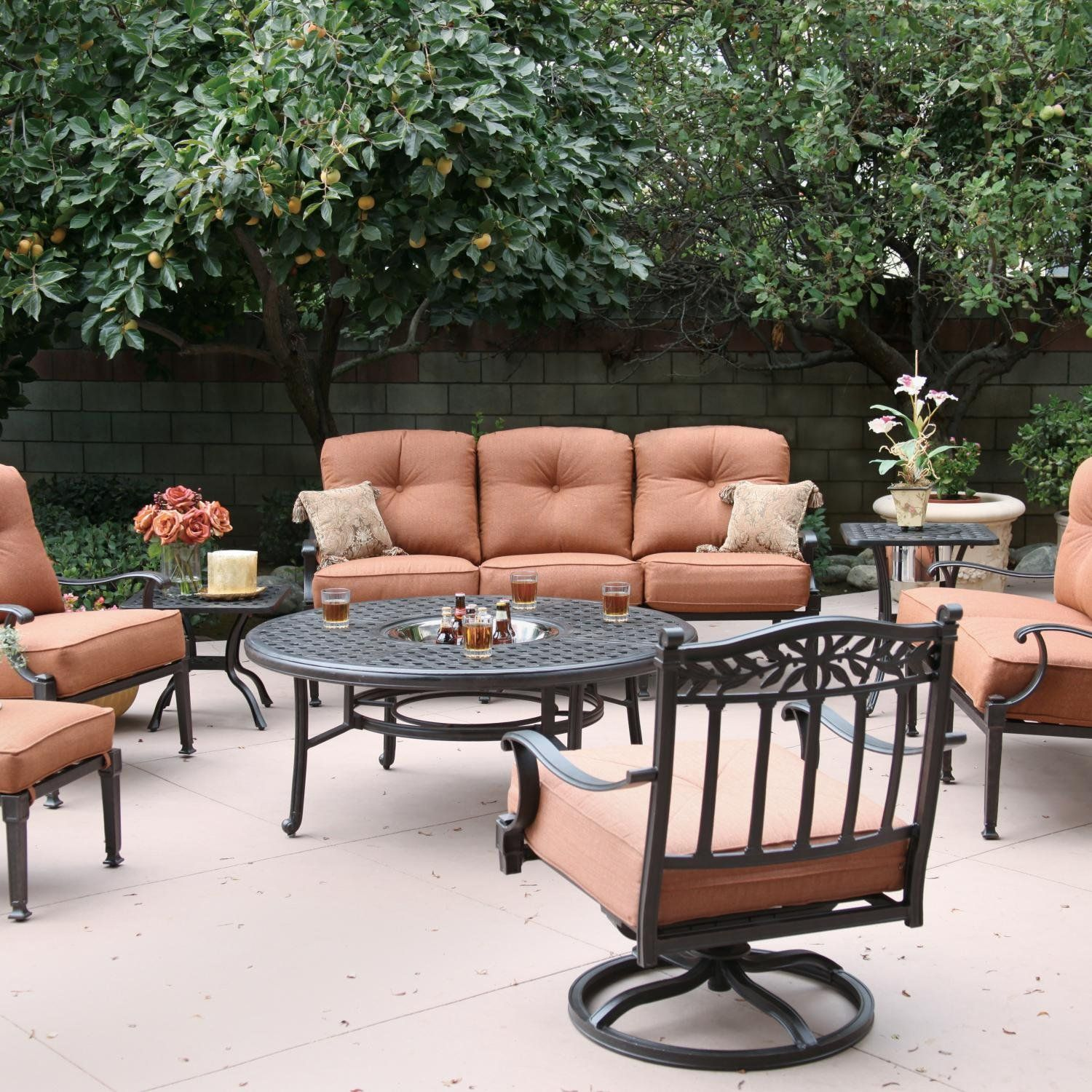 Darlee charleston piece cast aluminum patio conversation seating