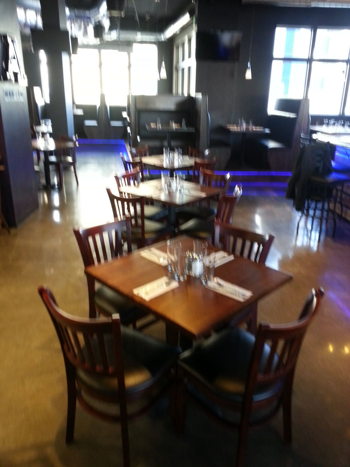 Restaurant Furniture. Net Premium US Made Vertical Slat Wood Chairs In  Bullu0027s Head Pizzeria And Grille In Logan, UT