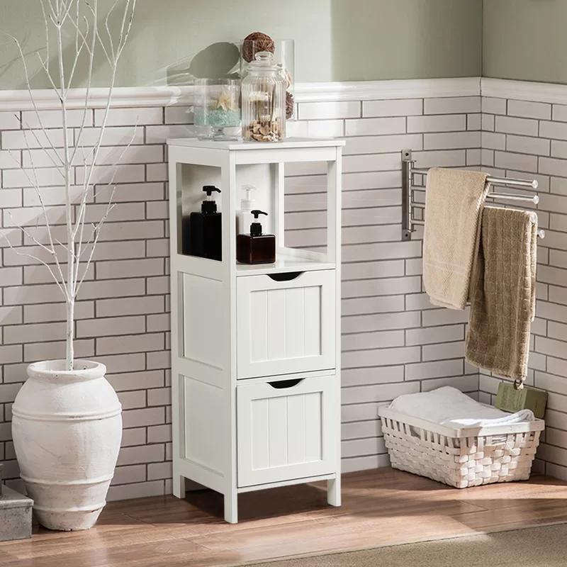 Zemple 12 W X 35 H X 11 8 D Linen Tower In 2020 Wooden Storage Cabinet Bathroom Floor Cabinets Bathroom Storage Organization
