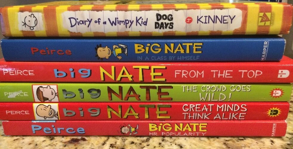 Childrens book lot 5 big nate 1 diary of a wimpy kid