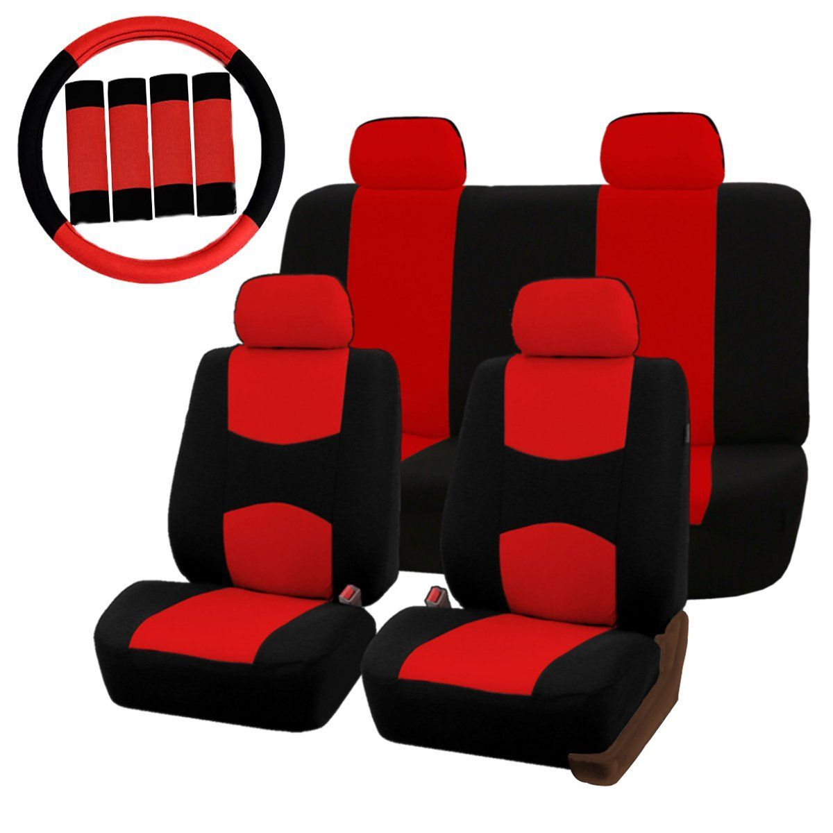 Universal Car Seat Covers Protector Full Set Steel Ring Wheel Cover Belt Pad Red Black