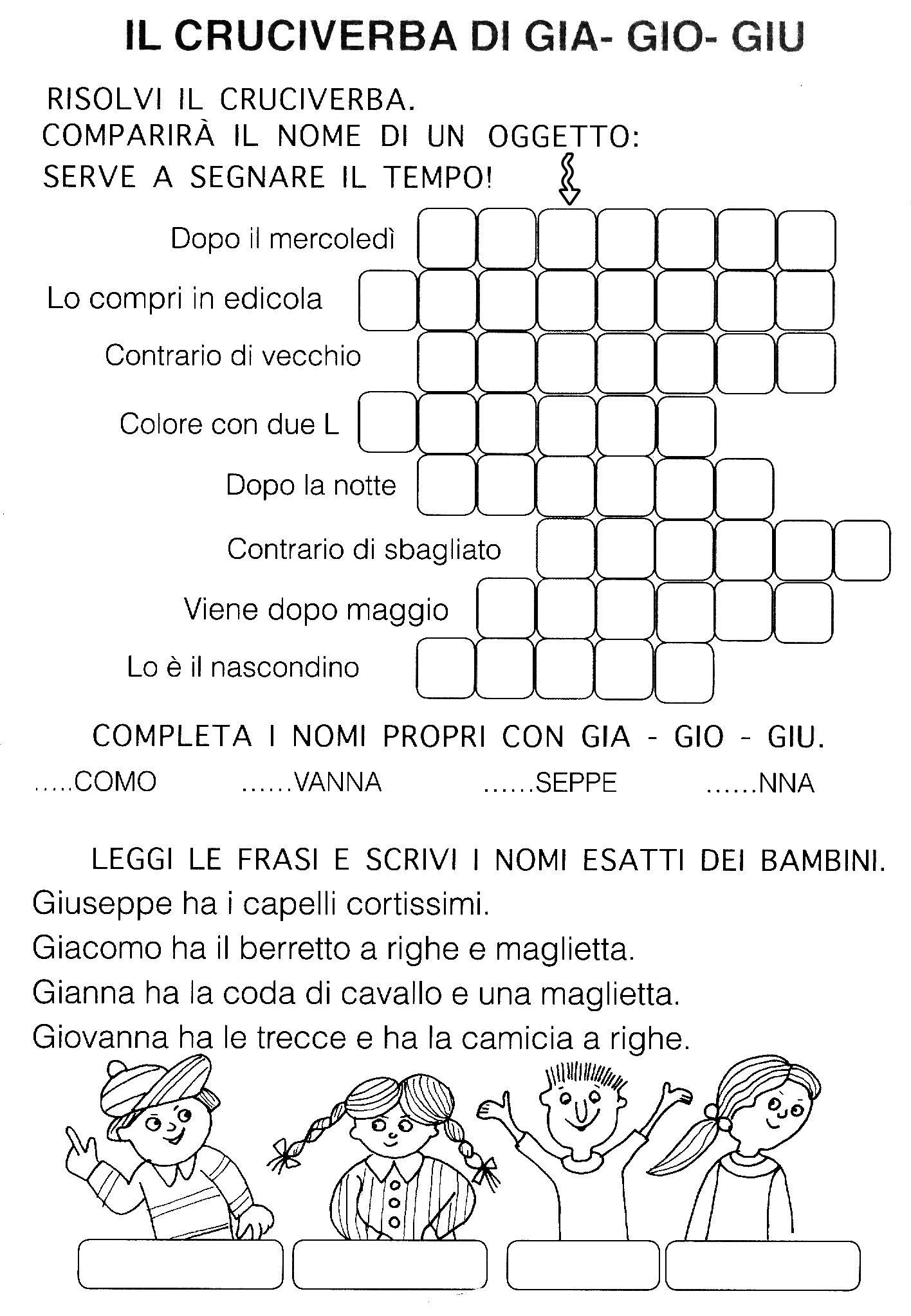 Gia gio giu ortografia primo ciclo pinterest school learning italian and italian grammar for Parole con gi