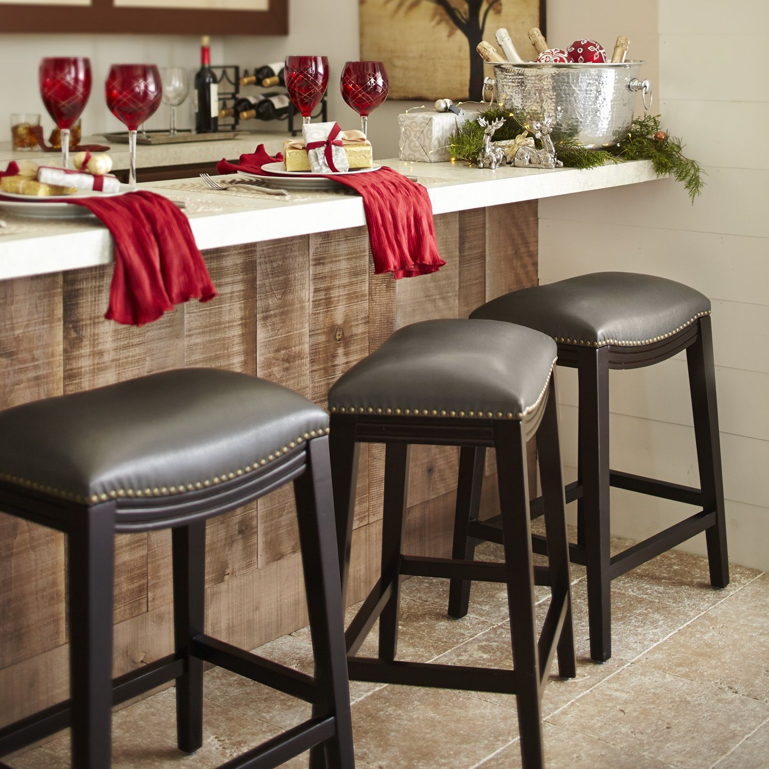Campbell Carved Backless Bar Stool 30 H Seat Frontgate Counter Stools Backless Bar Stools Counter Stools